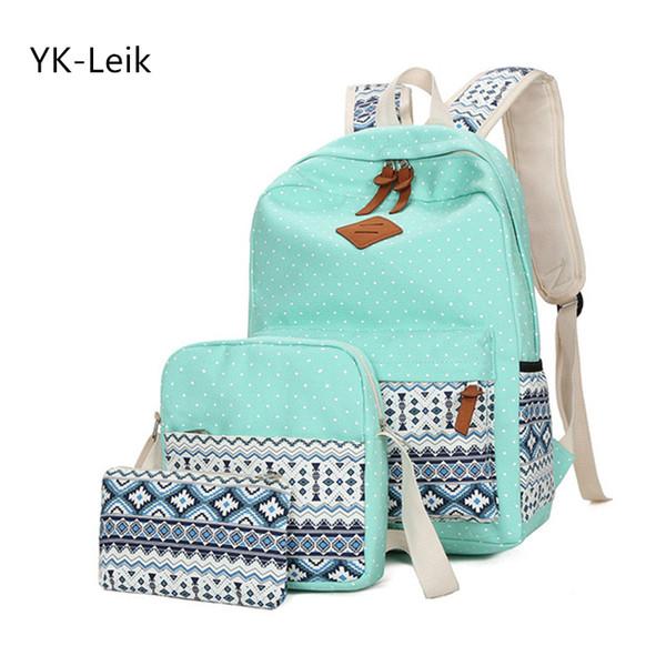 Yk-leik 2018 Мода этнический стиль женщины рюкзак высокое качество холст рюкзаки дети школьные сумки для девочек Mochila Feminina J190619