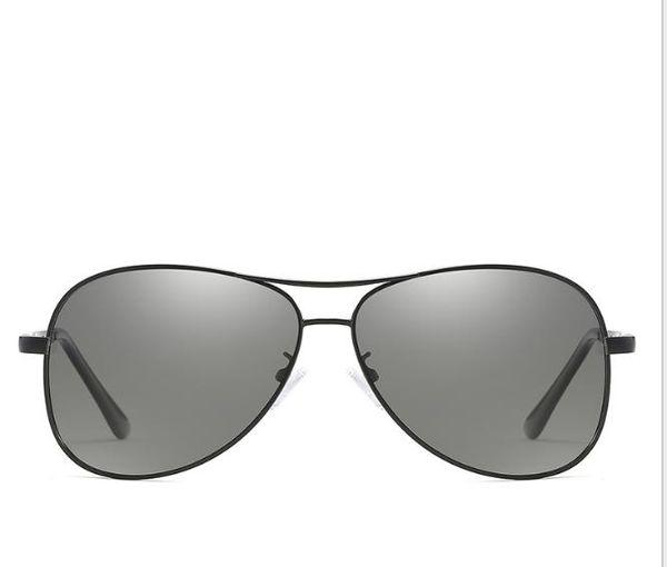 New polarizada descoloridos óculos de sol filme de metal óculos de sol pilotos óculos de sapo descoloridos óculos de condução dos homens