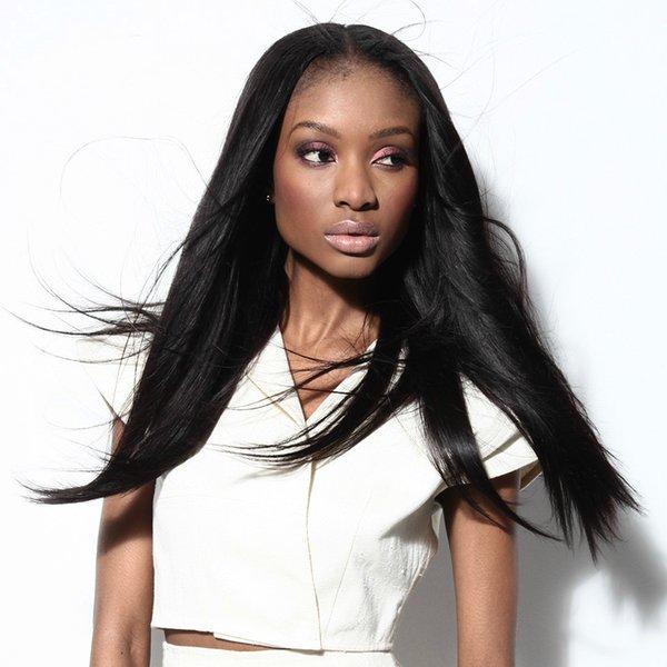 Волосы полный шнурок человеческих волос парики для чернокожих женщин 22 дюймов бразильский прямой парик натуральный цвет волос