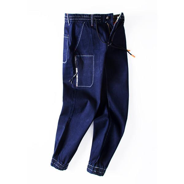 Punk Style Fashion Mens Jeans High Quality Elastic Waist Drawstring Slim Fit Jean For Men Brand Clothing Denim Biker Jeans Pants