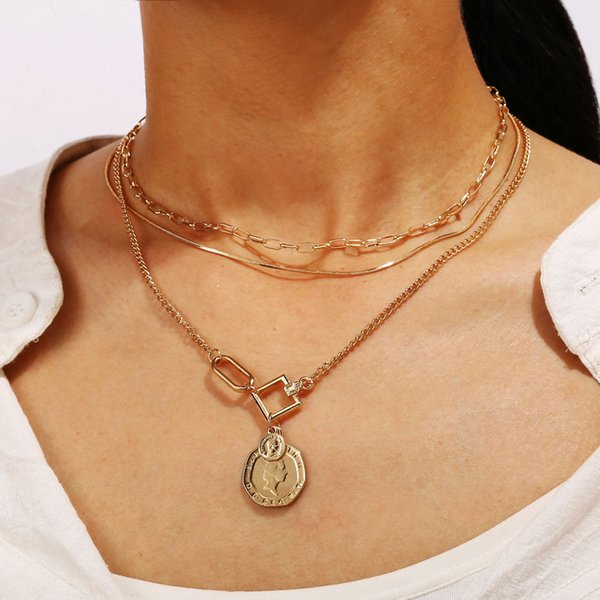 European And American-Style Cross-Border New Multi-Layer Sweater Chain Creative Retro Seal Pendant Snake Chain Three-Layer Necklace Clavicle