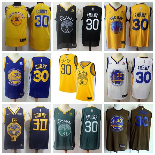 pretty nice 622e2 9b5f7 2019 Mens Warriors 30 Curry Golden State Jersey Warriors ...