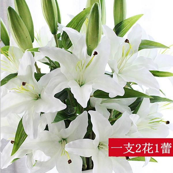 DIY 3 Têtes Real Touch lys artificiel Flores Mariage De Mariée faux fleurs Bouquet Plantes lys blanc Home Party Décor pour Affichage