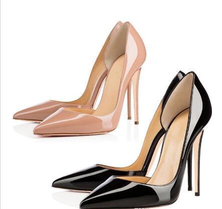 Свободная перевозка груза 2019 женщин способа насосы Nude лакированной кожи сексуальная женщина Pointe Toe Высокий размер каблуков обуви 33-44 12см 10см 8cm партии обуви