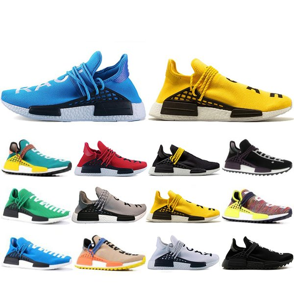 Wholesale New Human Race Hu trail pharrell williams Running shoes Men Nerd black cream mens trainer women designer sports sneakers US 5-12