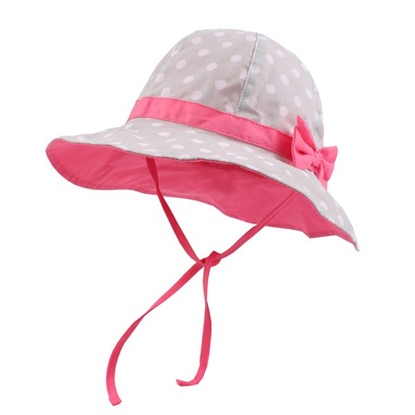 Dots Bowknot Baby Girls Bucket Sun Hat Toddler Wide Brim Summer UV Protection Cap High Quality Cotton Lining Chinstrap Stay On