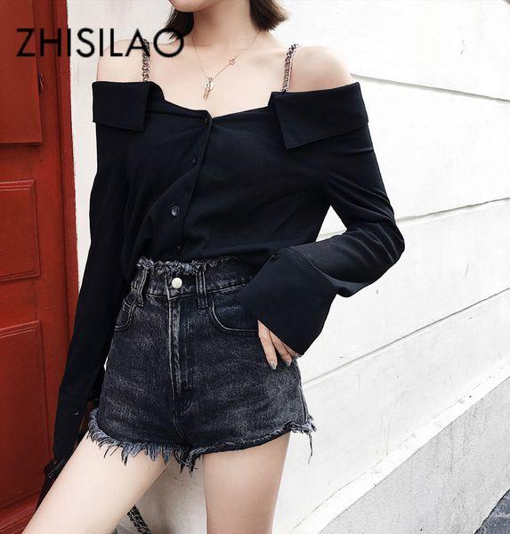 Camiseta mujer 2019 negro manga larga sexy fuera del hombro camisa de la cadena de verano Brace camiseta Femme camiseta ocasional mujeres Tops Vintage