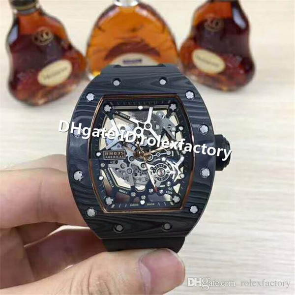 Top Luxury 035 Two Tone Rose Gold And Black Ceramic Skeleton Dial Carbon Fiber Case Rubber Strap Automatic 28800vph Men Watch Sports Watches