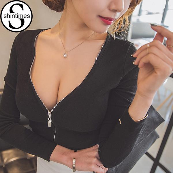 Sexy Black Top Zipper Deep V-neck Long Sleeve Tshirt Women T-shirt Tops T Shirt Korean Clothes Camisas Femininas 2018 Haut Femme J190513