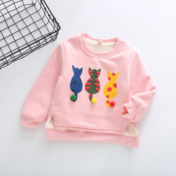 Baby Girls T Shirts Winter 2017 New Children Girl Fleece Cat Embroidery Cotton Sweatshirt Tops Kids Christmas Long Sleeve Tee