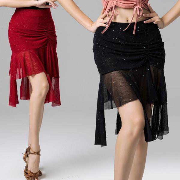 Women's Latin Salsa Tango Rumba Cha Cha Ballroom Dance Dress Skirt Black Purple Square Dance Latin Dancewear for Women/Girls