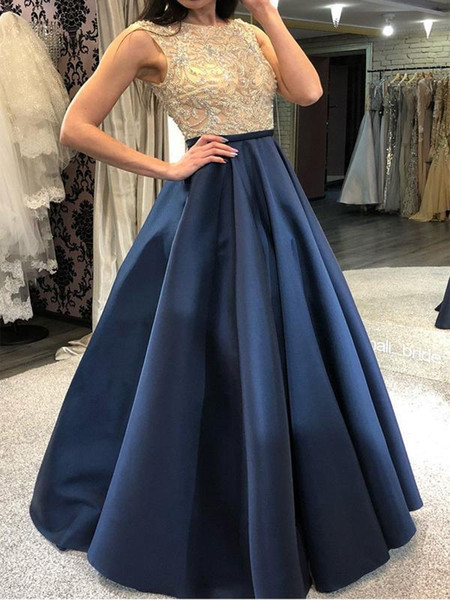 Luxury Sequined Prom Dresses Jewel Neck Beaded Top Chiffon Sweep Train Hollow Back Royal Blue Evening Dresses Party Pageant Gowns 2019