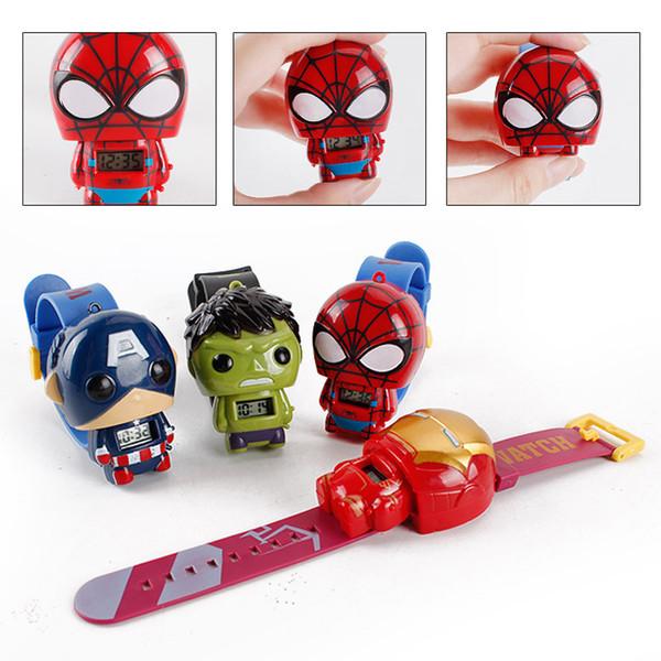 Kids Avengers watches 2019 New Children Superhero cartoon movie Captain America Iron Man Spiderman Hulk Watch toys action figures J001