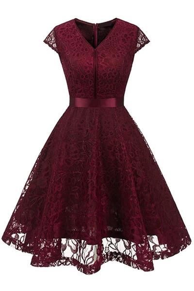 Nueva mujer de la vendimia con cuello en V sin mangas del cordón floral del banquete de boda vestido del tanque borgoña dama de honor una línea vestidos robe vestidos FS3893