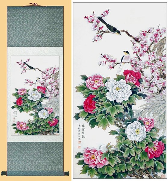 Paeonia Suffruticosa And Poultry Painting Home Office Decoration Chinese Art Painting Chinese Ducks Playing In The Water
