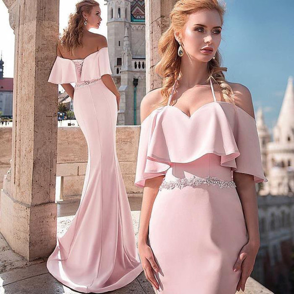 Discount Pink 2019 Prom Dress Evening Gowns Mermaid Satin Crystal Ribbon Backless Off shoulder with Sleeves Pageant Dress Runway Style