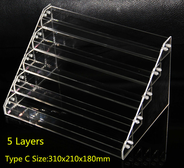Acrylic e cigs display showcase clear stand show shelf holder rack for 10ml 20ml 30ml 50ml e liquid eliquid e juice needle bottle Mods