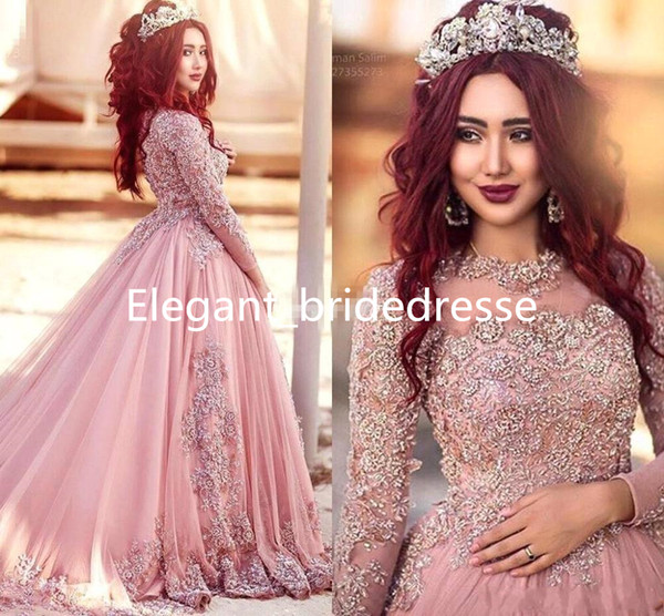 2019 Ball Gown Long Sleeves Evening Dresses Princess Muslim Prom Gowns With Sequins Beaded Court Train Red Carpet Runway Dress Custom