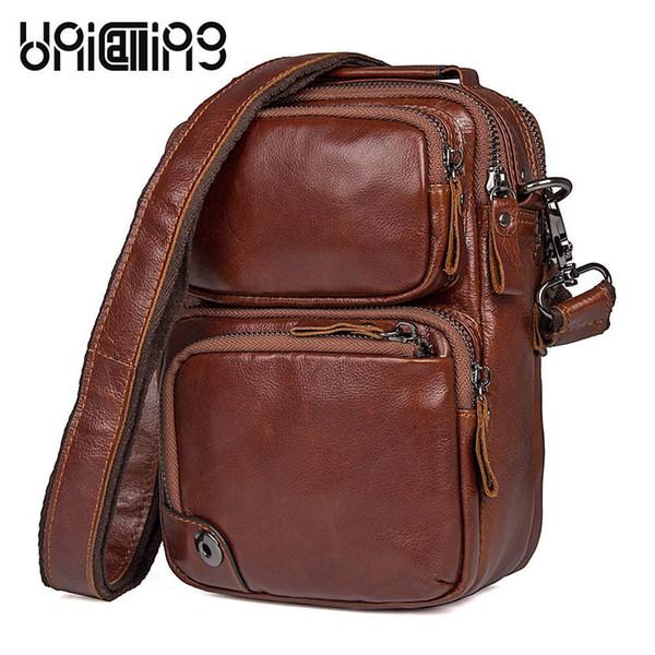 Unicalling Messenger Bag Men couro qualidade couro genuíno masculino Mensageiro pequeno Mens Shoulder Casual