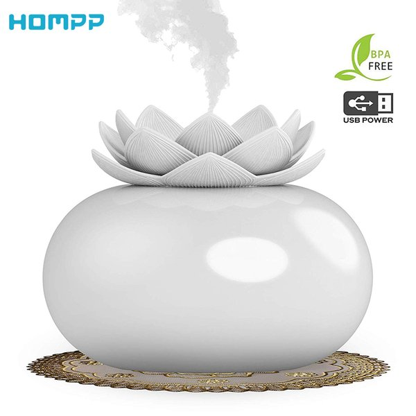 200ml Flower Essential Oil Diffuser Decorative Aromatherapy Diffusor,Cute Lotus Ceramic Humidifier Crafts ,USB Timer 12 Hours