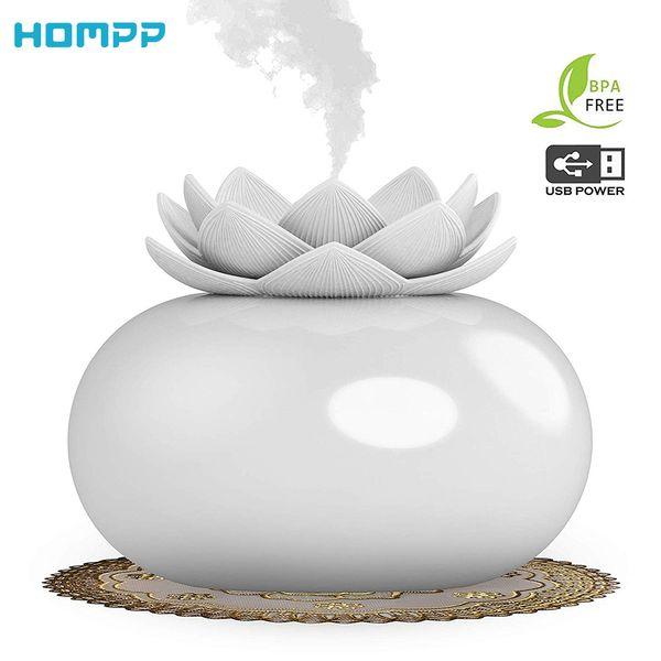 200ml Çiçek Esansiyel Yağı Yayıcı Dekoratif Aromaterapi difüzör, Sevimli Lotus Seramik Nemlendirici El Sanatları, USB Zamanlayıcı 12 Saat