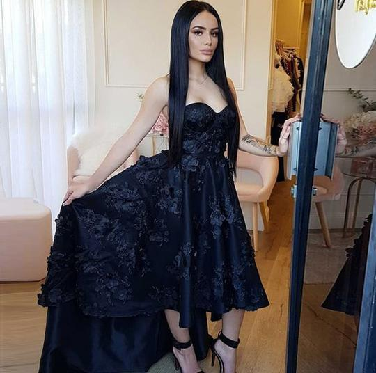 Vintage Black High Low Prom Dresses Sweetheart Appliques Lace Formal Evening Gowns 2019 Turkey Short Cocktail Homecoming Dresses For Teens