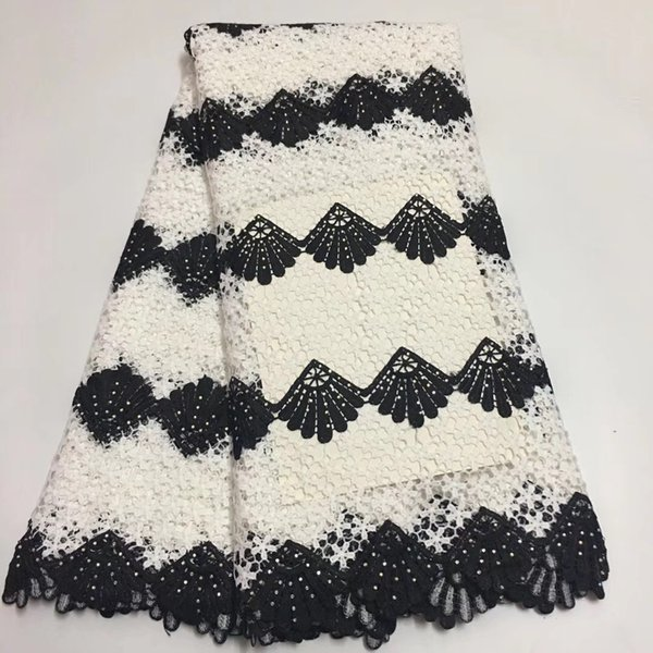 WT1056 (5yards/lot) double colored African guipure lace fabric fashion water soluble lace with stones for making dress