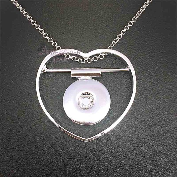 Moda Intercambiáveis Metal Coração Gengibre Colar De Cristal 093 Fit 18mm Botão Snap Colar Pingente Charme Jóias Para As Mulheres Presente