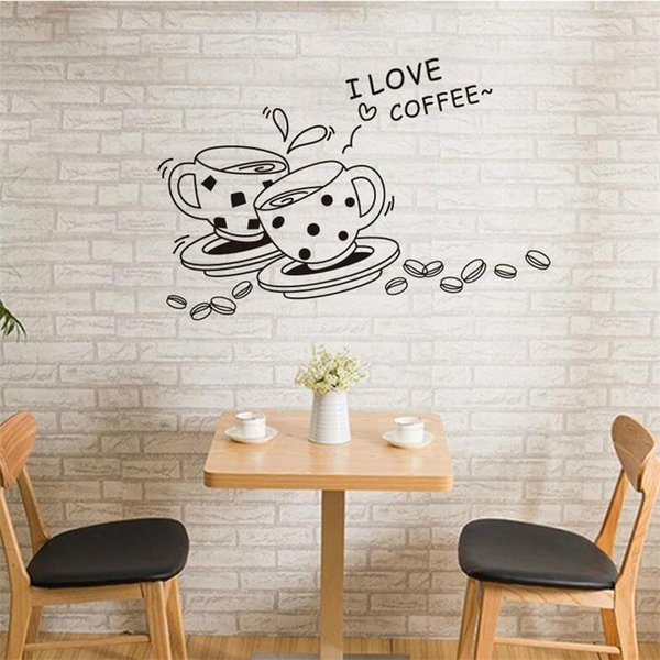 Black Coffee Cup Wall Sticker For Kicthen Restaurant Window Coffee Store Decoration Poster Home Decor Self adhesive PVC Mural