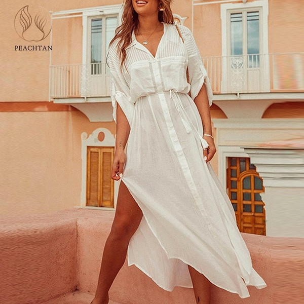 Peachtan White Beach Cover Up Dress Tunic Long Pareos Bikinis Cover Ups Swimsuit Cover Up Beachwear T-shirts For Women 2019 New J190618