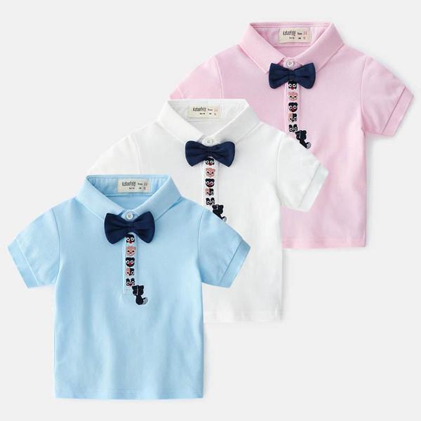 2019 Summer New Arrival Boutique kids designer clothes boys Shirt cotton bow tie Boys T Shirts kids Tee Shirt boys clothing Boy Shirt A3118