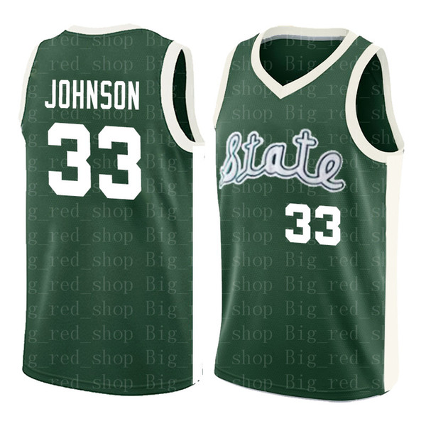 33 Earvin Johnson Michigan State Jersey Cheap Magic Johnson Green White College Jersey Stitched Retro High School Basketball Jersey