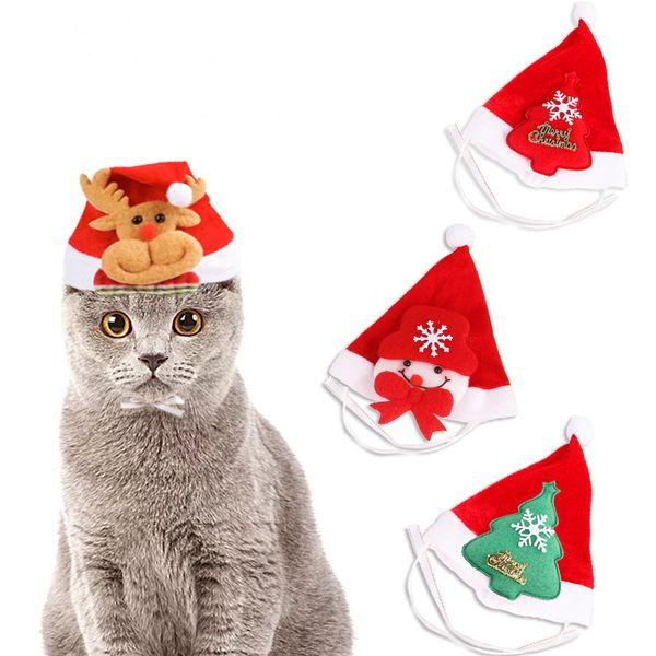 New Creative Pet Cat Dog Santa Tree Hat cap Xmas Red Holiday Costume Christmas Decoration For Pet Dog Cat Decoration