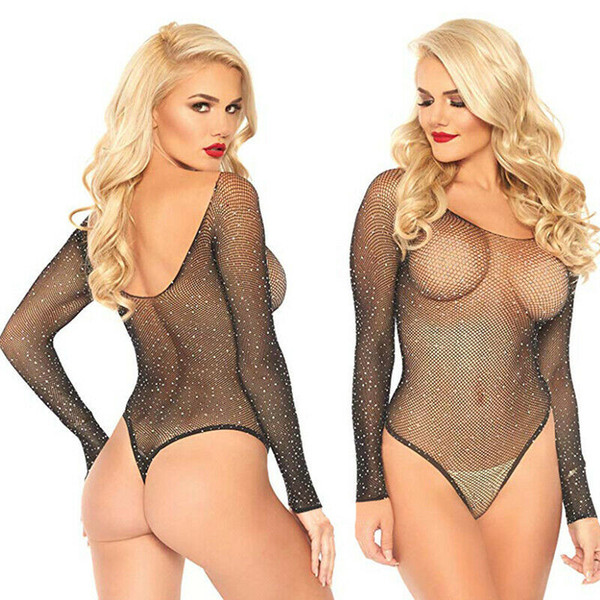 top popular Sexy Women Long Sleeve Fishnet Rhinestone Bodysuit Leotard Tops Swimsuit Hollow Out Off Shoulder See Through Playsuit Jumpsuit 2021