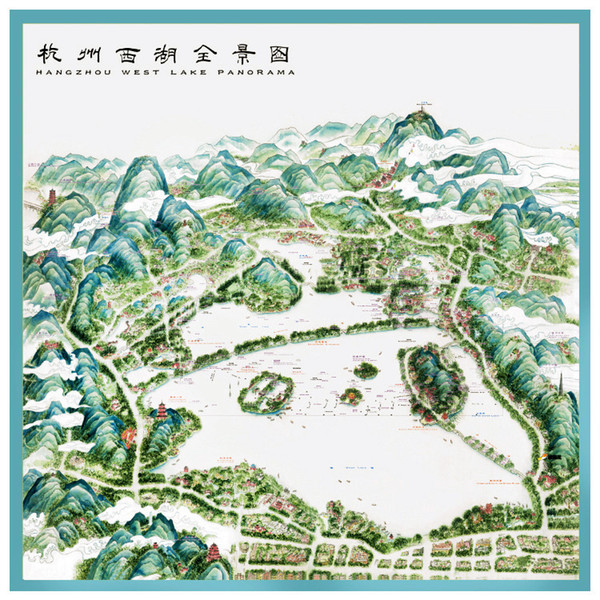 Hangzhou West Lake panorama high-end gift pure mulberry silk arts hand-painted map scarf
