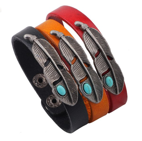 Vintage Fashion Unisex Bracelets Jewelry 2019 Brand New Turquoise Antique Silver Plated Alloy Feather Real Leather Charm Bracelets LBR020