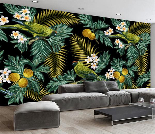 Personalizzato 3D murale Foresta pluviale tropicale Pappagallo Foglia di cocco Pittura murale Soggiorno TV Sfondo Carta da parati Papel De Parede Sala