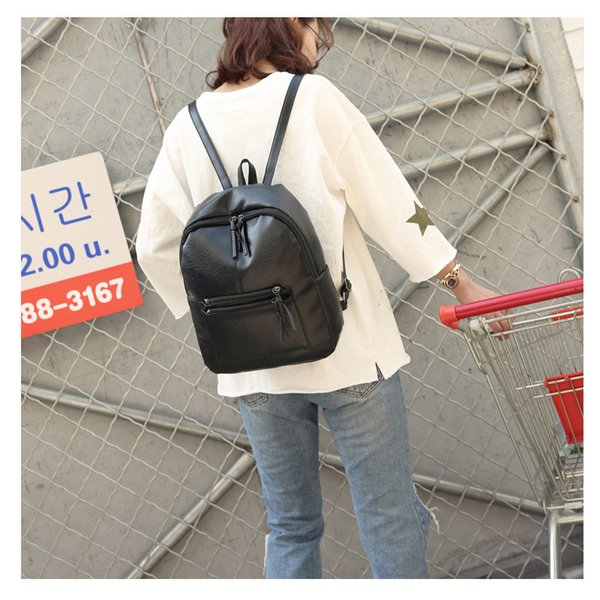 Pu Leather Backpack Women Fashion Backpacks Black New Korean Travel Bags For Women, College Student Soft School Woman Bag