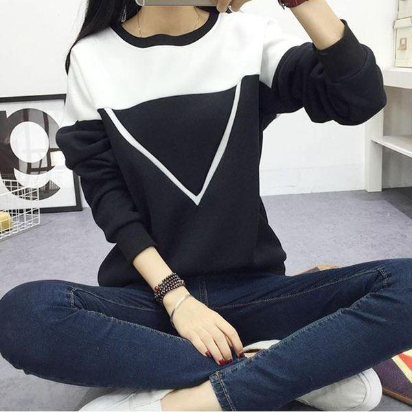 Winter Women Hoodies Sweatshirts Plus Size Fashion Black White Patchwork V Pattern Pullover Clothes O-Neck Long Sleeve Hoody Sweatshirt