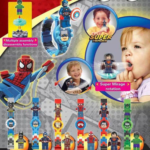 Spider Man Batman Captain America Iron Man Superman Super hero Avengers Watch Building Block Mini Toy Figure