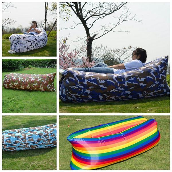 Lazy Sofa Camouflage Lounge Sleep Bag Rainbow Lazy Inflatable Sofa Al aire libre Lazy Self Inflated Sofa Sacos de dormir Conjuntos de jardín CCA11707 30pcs