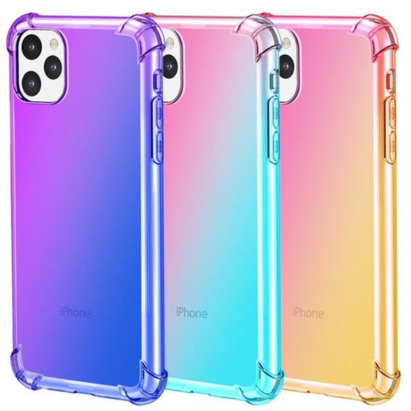 top popular Gradient Colors Anti Shock Airbag Clear Cases For iPhone 11 Pro Max XS 8 7Plus 6S For Samsung S10 S9 Note 9 2020