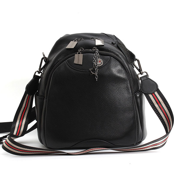 Trend Personality Leather Female Bag Top Layer Leather Lychee Pattern Shoulder Bag Female Casual Small Backpack Fashion Shoulder Bag