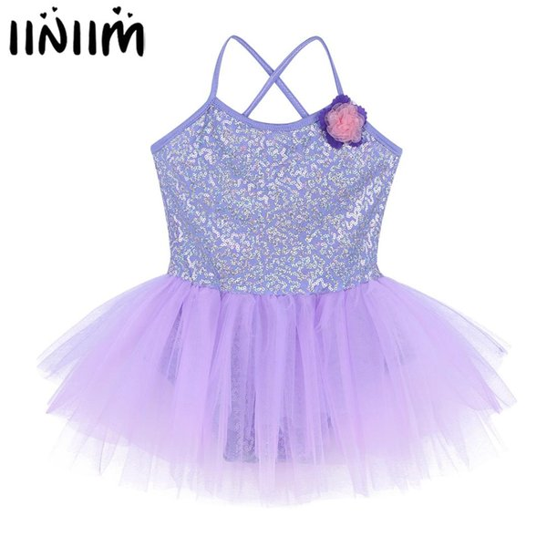 Kids Girls Ballet Dancewear Tutu Dress Spaghetti Sequins Ballet Lyrical Dance Costumes Gymnastics Performance Leotard Ballerina