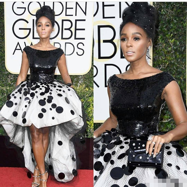 top popular Sexy Janelle Monae Celebrity Party Dresses Ball Gown Black and White Sequins Handmade Flowers Tulle 2020 New Golden Globe Prom Evening Gown 2019