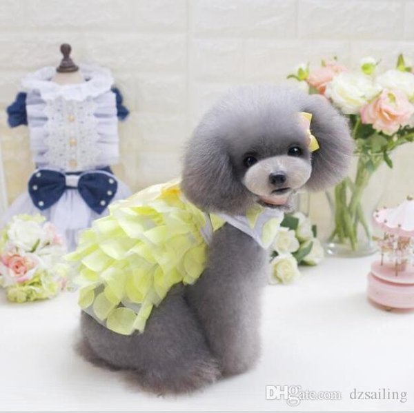 pet dog dresses 3 colors puppy lovely sweet princess spring summer pet skirt clothes for small dogs Teddy Bichon XS/XL T1716