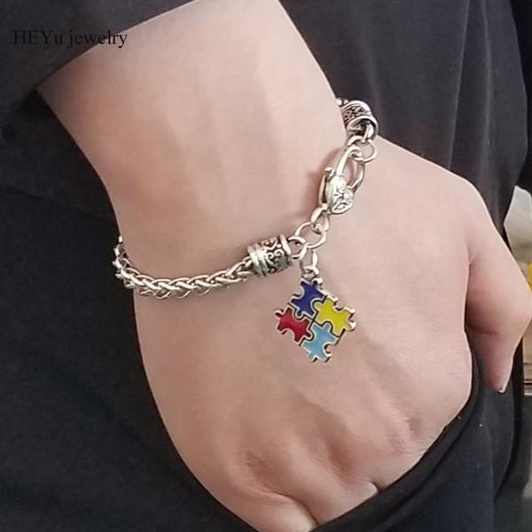 2018 аутизм осведомленности головоломки кусок браслеты браслеты Шарм Омар Коготь Красный эмаль браслет для мужчин женщин прохладно