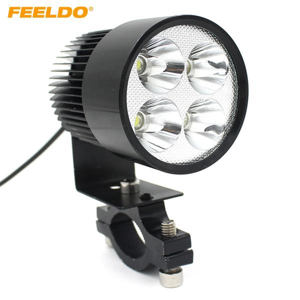 best selling FEELDO 12V-85V Universal Motorcycle E-bike 20W LED Modified Headlight Lamp Black #1710