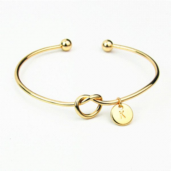 Women Bracelets 26 Letter Pendant Heart Knot Bracelets Bangle Fashion Alloy Gold Silver Color Chain Amp Link Bracelet Jewelry 2018 James Avery Charm