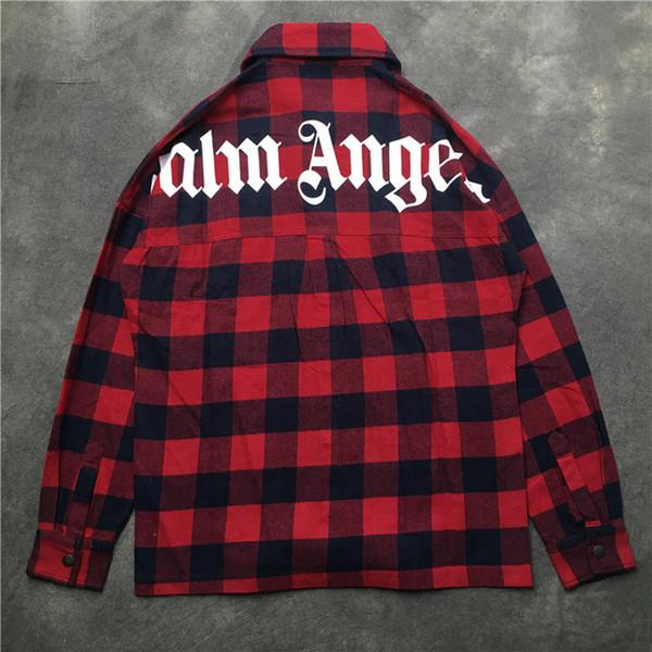 NEUE Mode Streetwear Palm Angels Taschen Hemd Rot Blau Plaid Langarmshirts 2019ss Hip Hop Männer Frauen Palm Angels Hemd